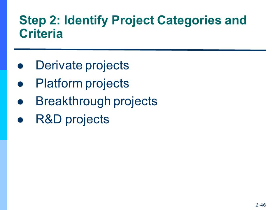 Step 2: Identify Project Categories and Criteria