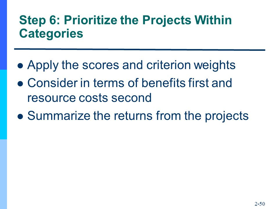 Step 6: Prioritize the Projects Within Categories