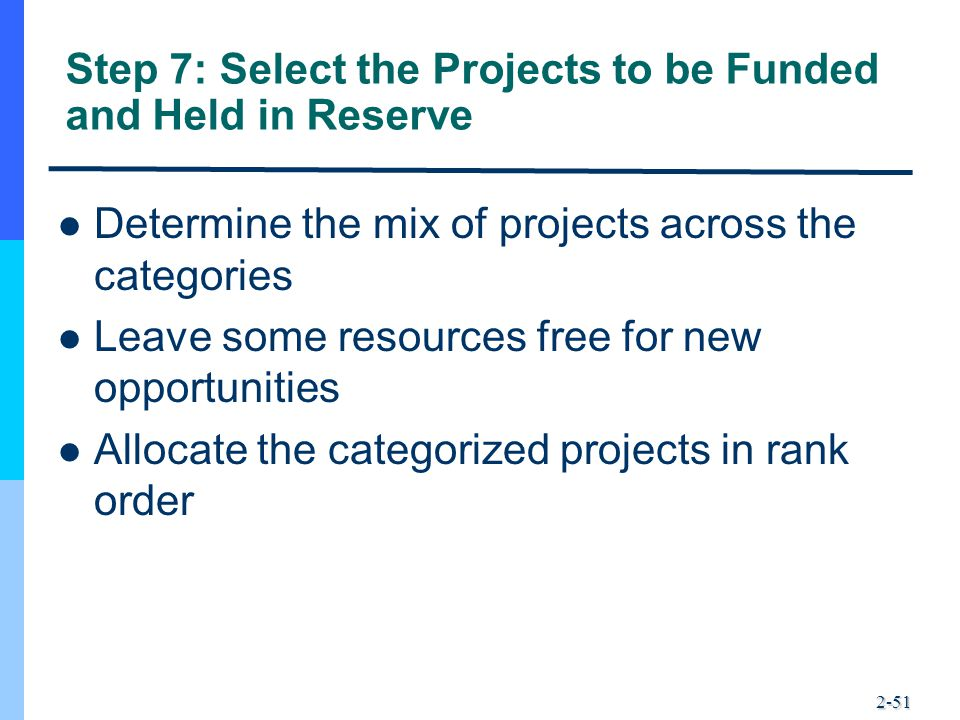 Step 7: Select the Projects to be Funded and Held in Reserve