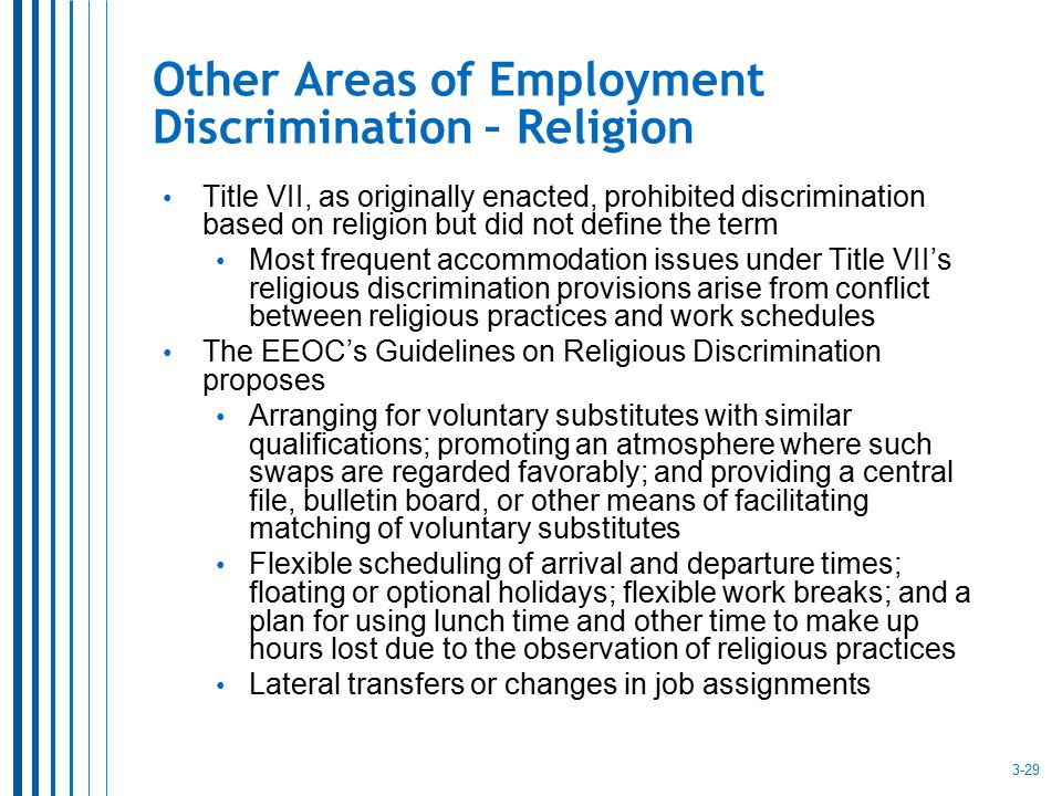 Other Areas of Employment Discrimination – Religion