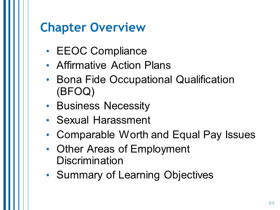 Chapter Overview EEOC Compliance Affirmative Action Plans