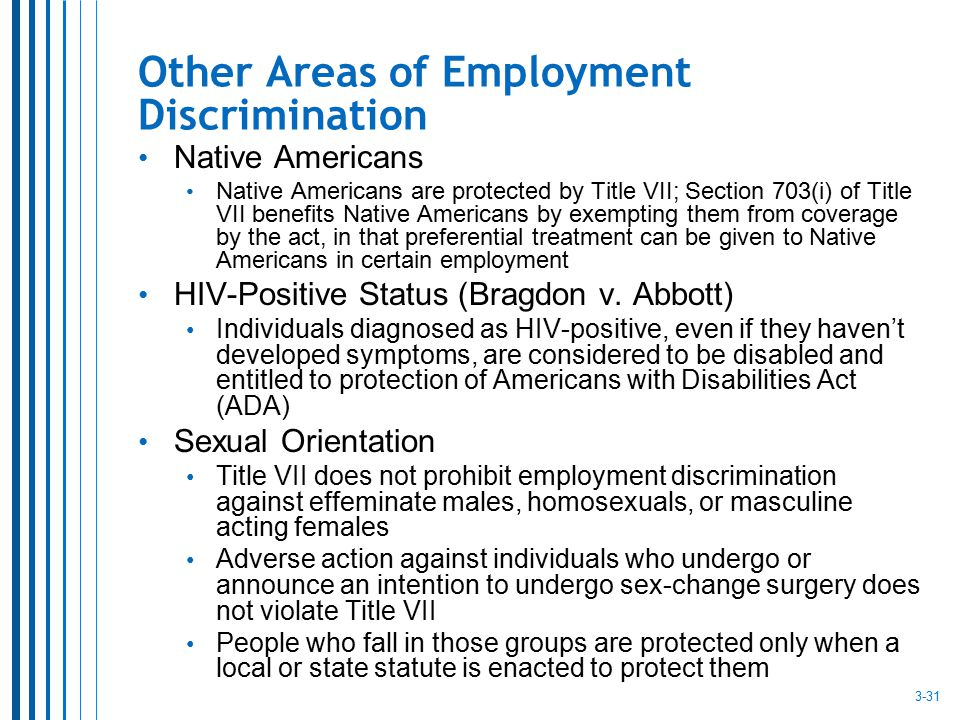 Other Areas of Employment Discrimination