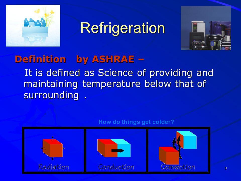 Refrigeration Definition by ASHRAE –