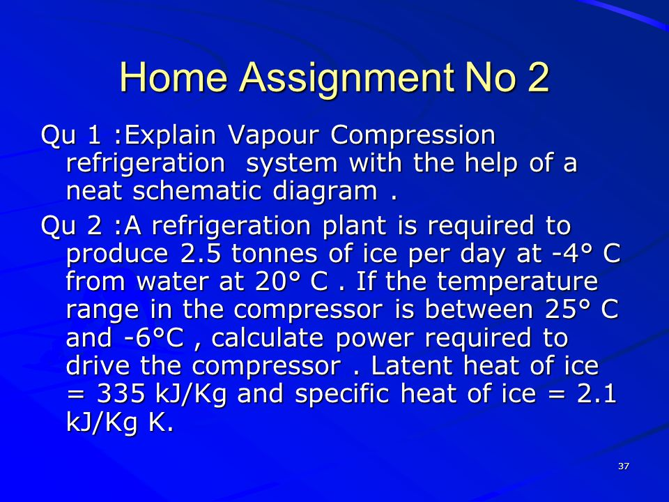 Home Assignment No 2 Qu 1 :Explain Vapour Compression refrigeration system with the help of a neat schematic diagram .