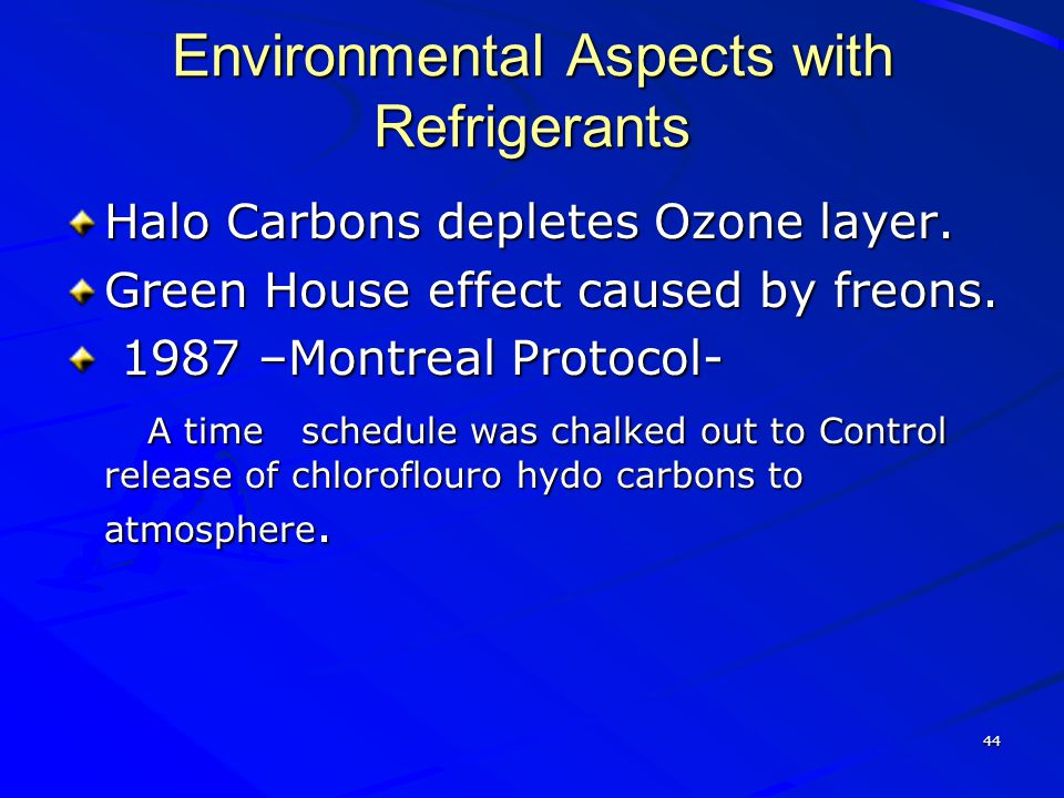 Environmental Aspects with Refrigerants