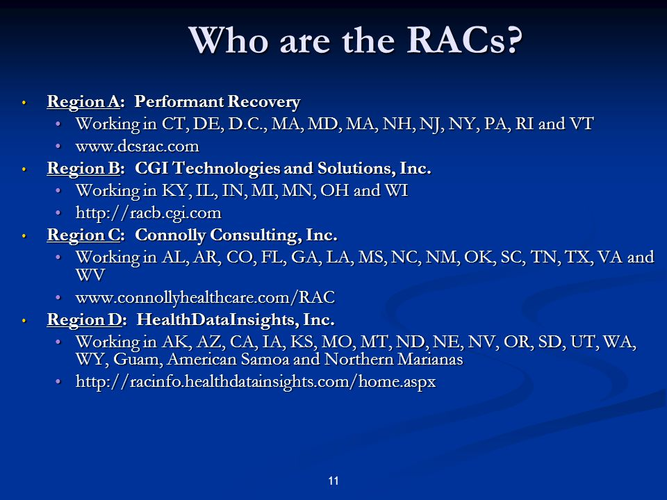 Who are the RACs Region A: Performant Recovery