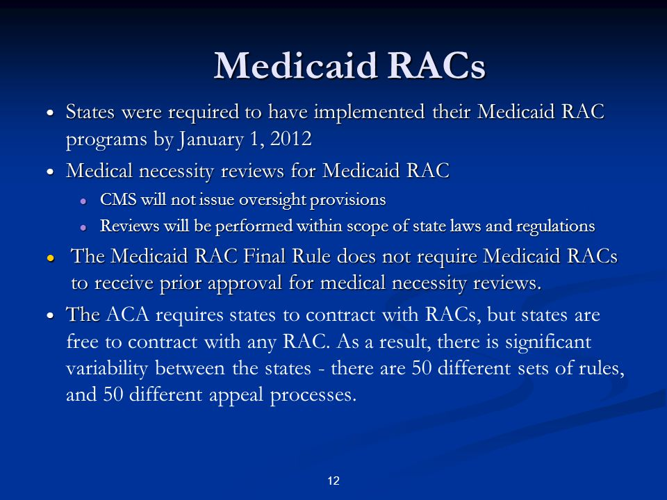 Medicaid RACs States were required to have implemented their Medicaid RAC programs by January 1, 2012.