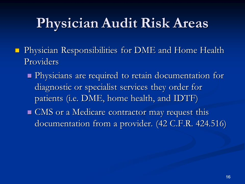 Physician Audit Risk Areas
