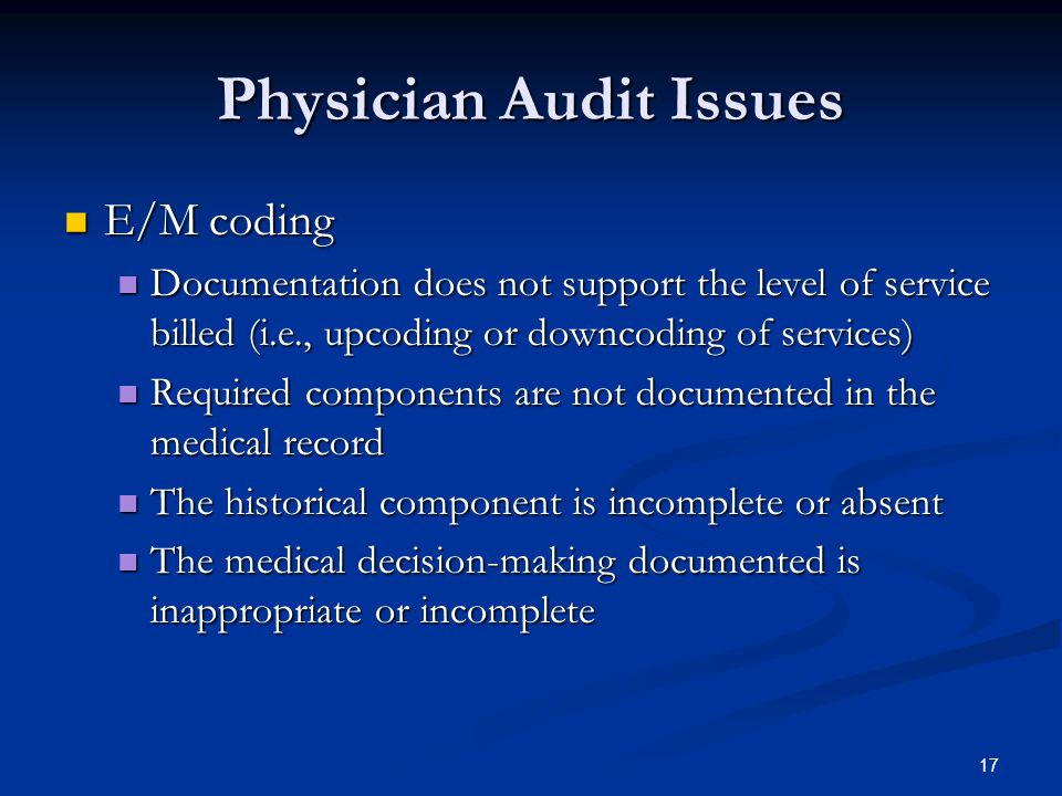 Physician Audit Issues