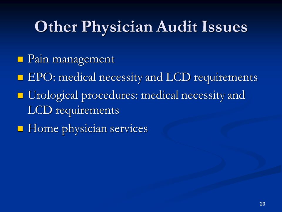 Other Physician Audit Issues