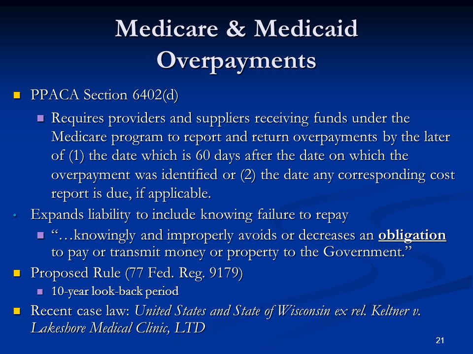 Medicare & Medicaid Overpayments