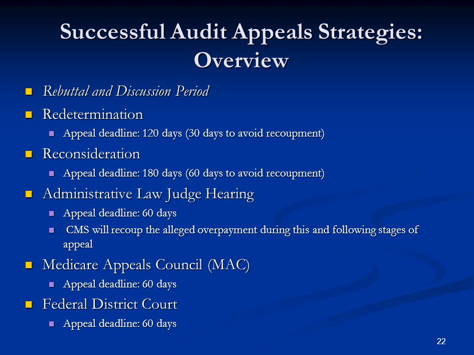 Successful Audit Appeals Strategies: Overview