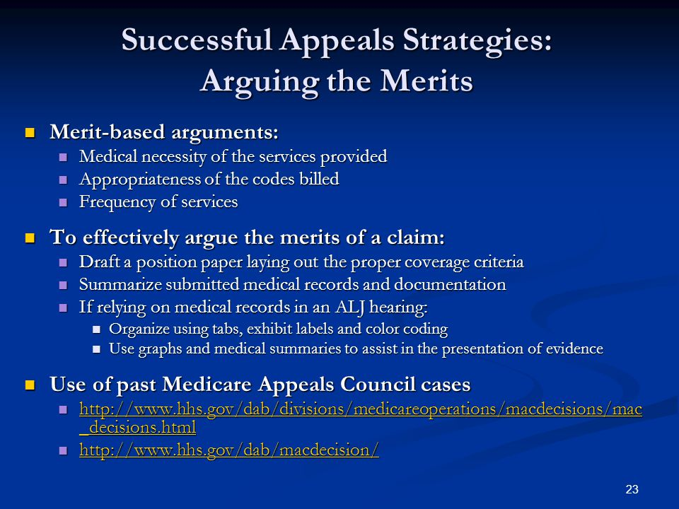 Successful Appeals Strategies: Arguing the Merits