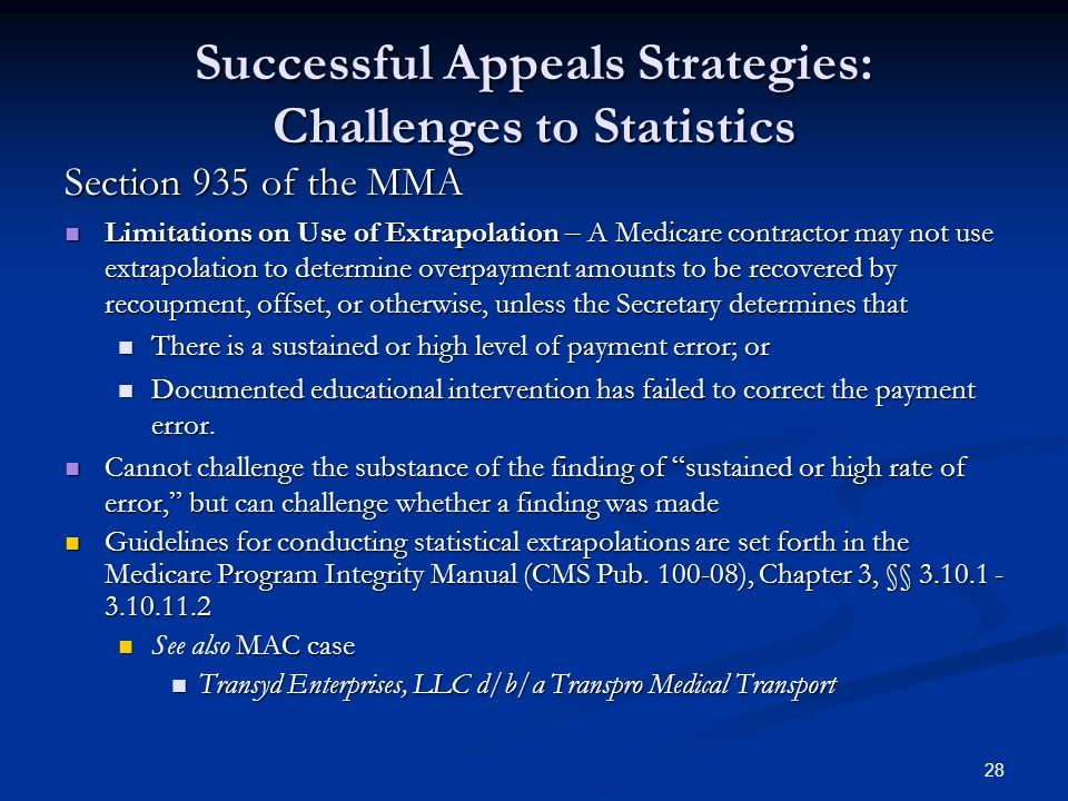 Successful Appeals Strategies: Challenges to Statistics