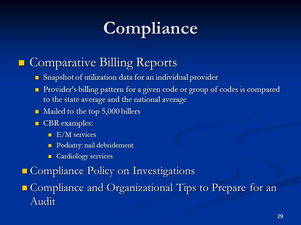 Compliance Comparative Billing Reports