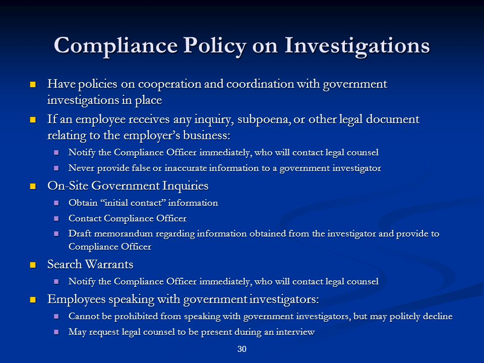 Compliance Policy on Investigations