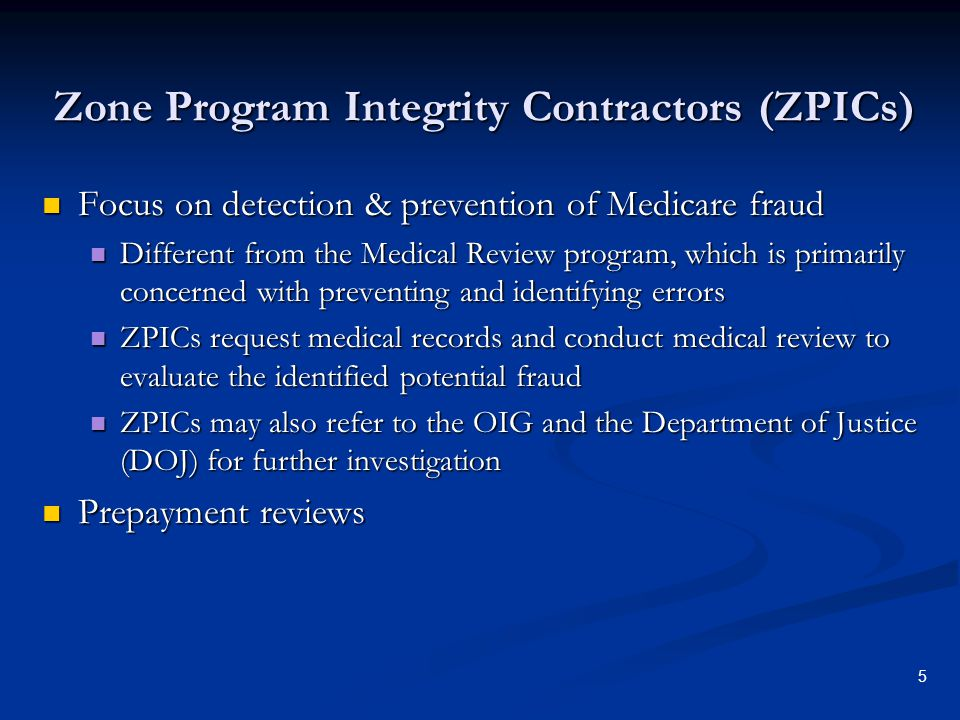 Zone Program Integrity Contractors (ZPICs)