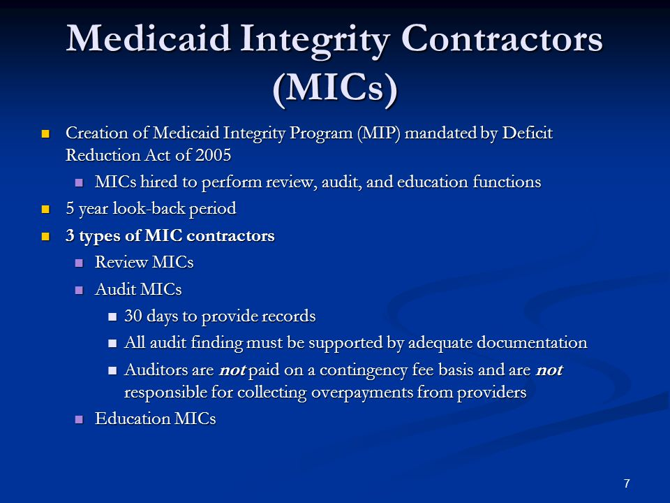 Medicaid Integrity Contractors (MICs)