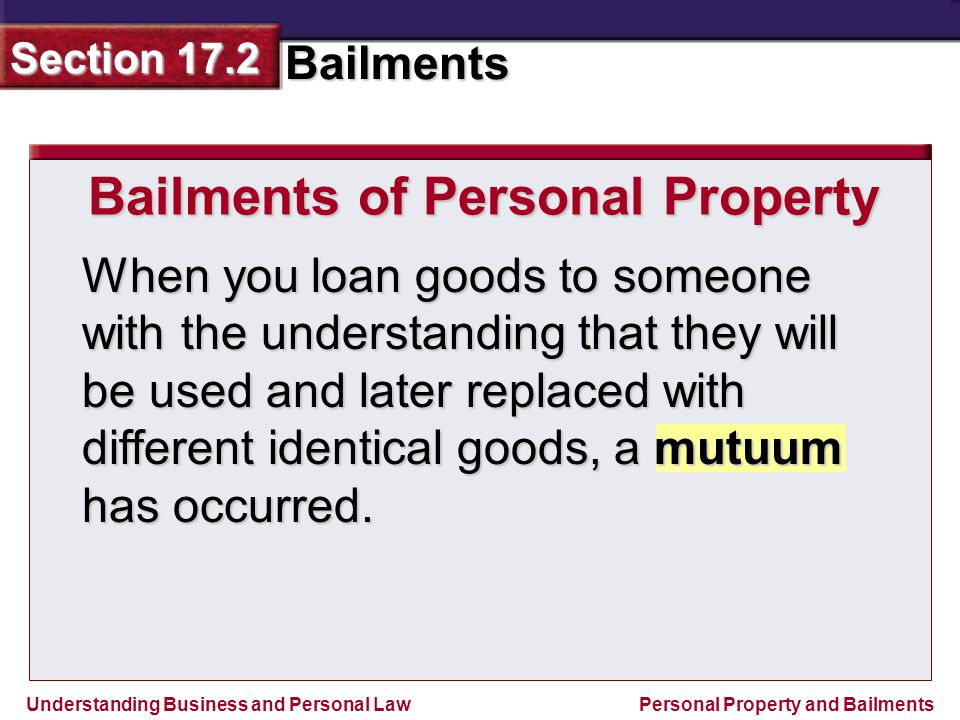 Bailments of Personal Property