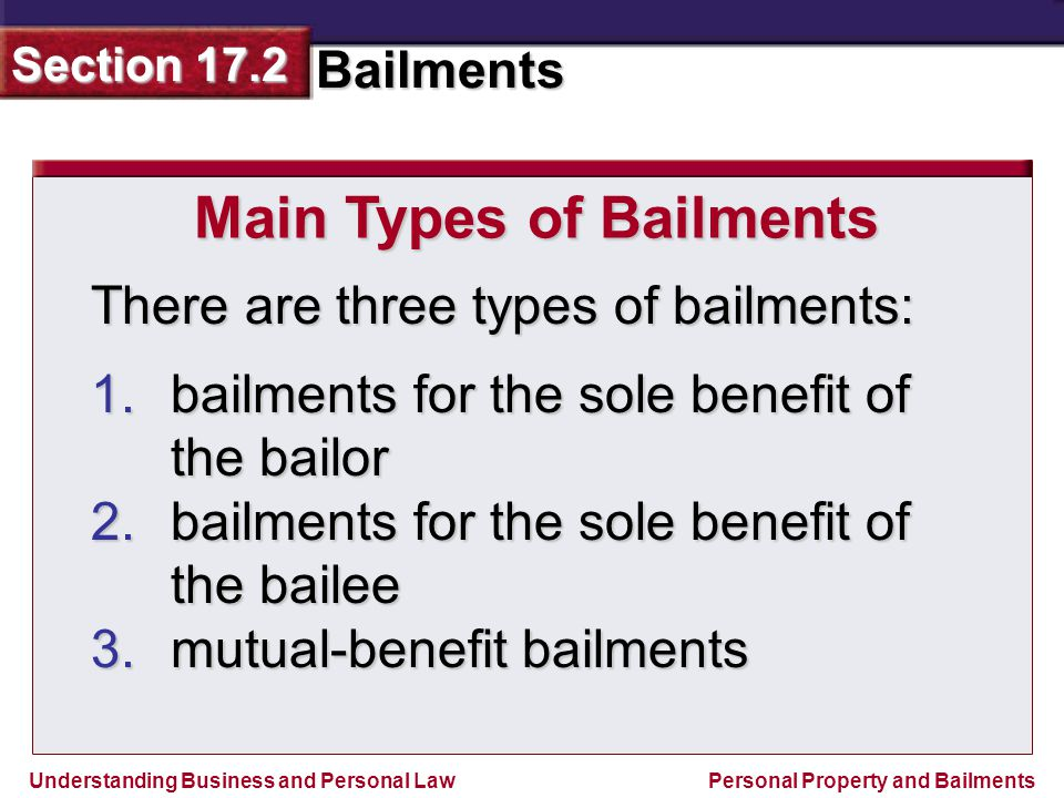 Main Types of Bailments
