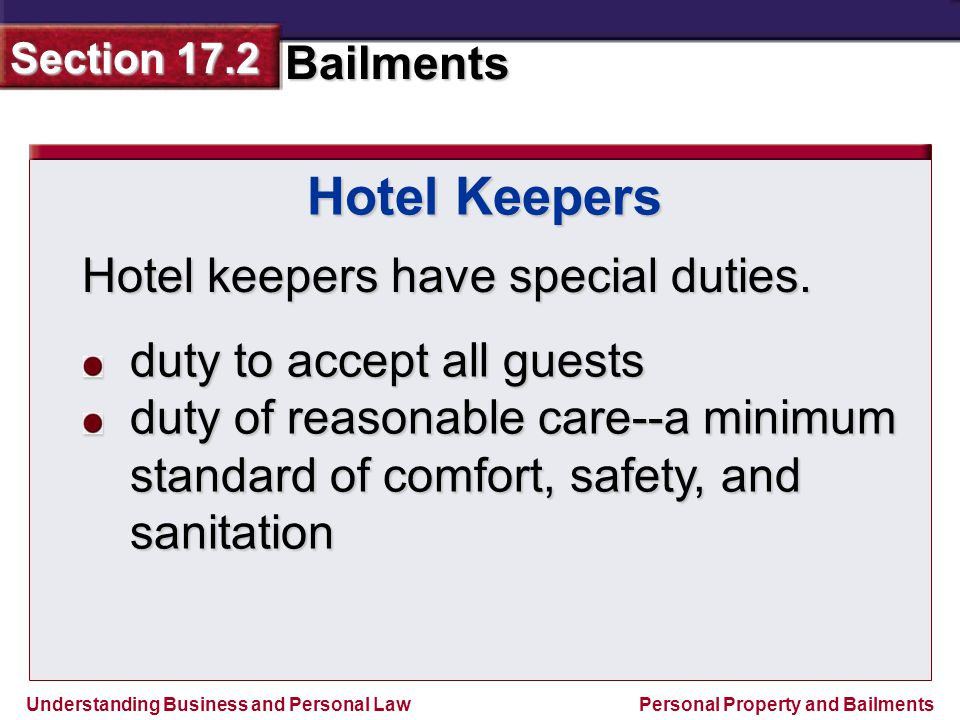 Hotel Keepers Hotel keepers have special duties.