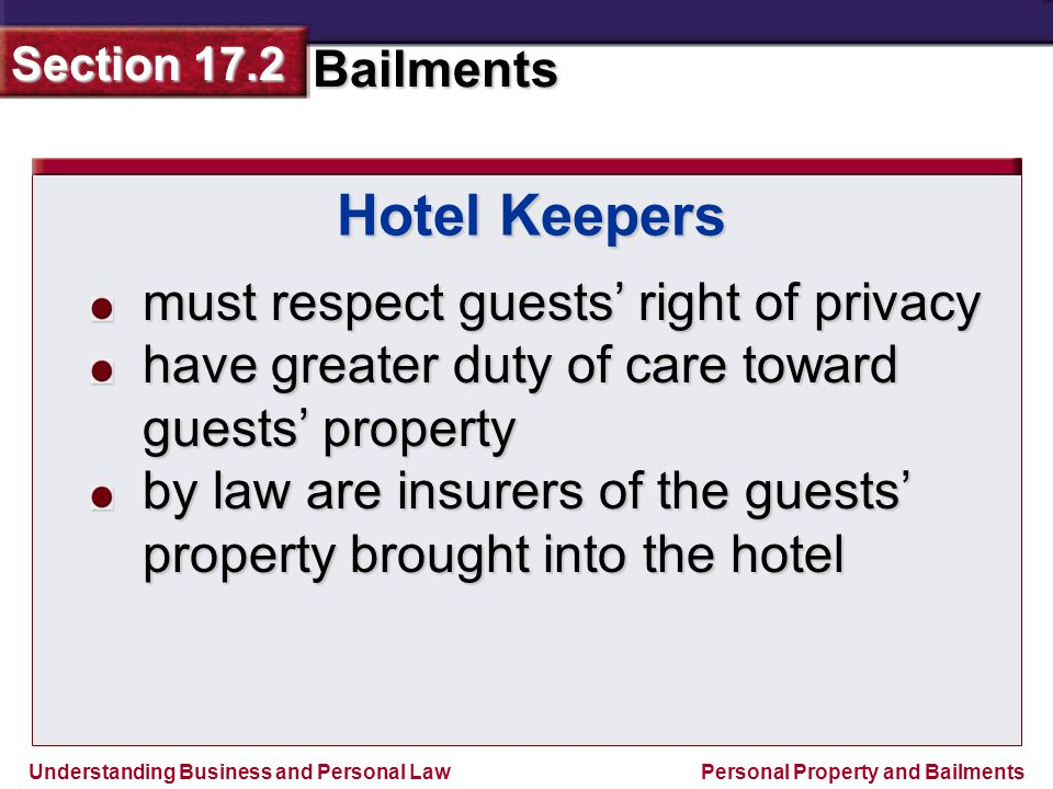Hotel Keepers must respect guests' right of privacy
