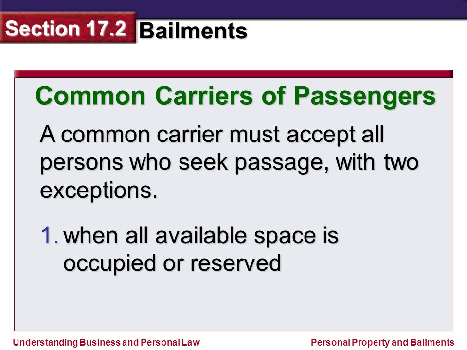 Common Carriers of Passengers