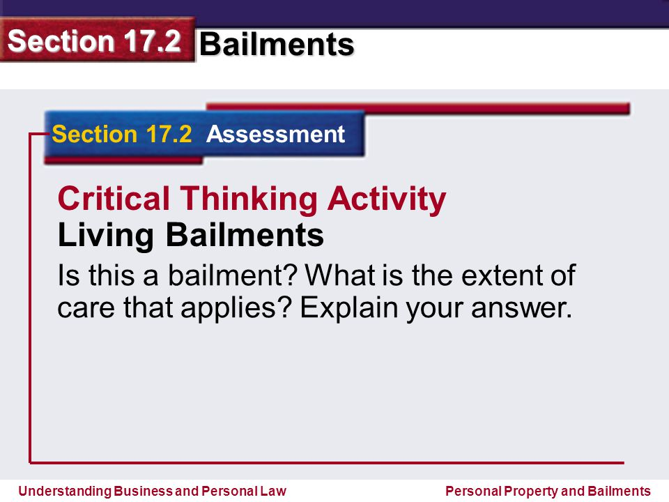 Critical Thinking Activity Living Bailments