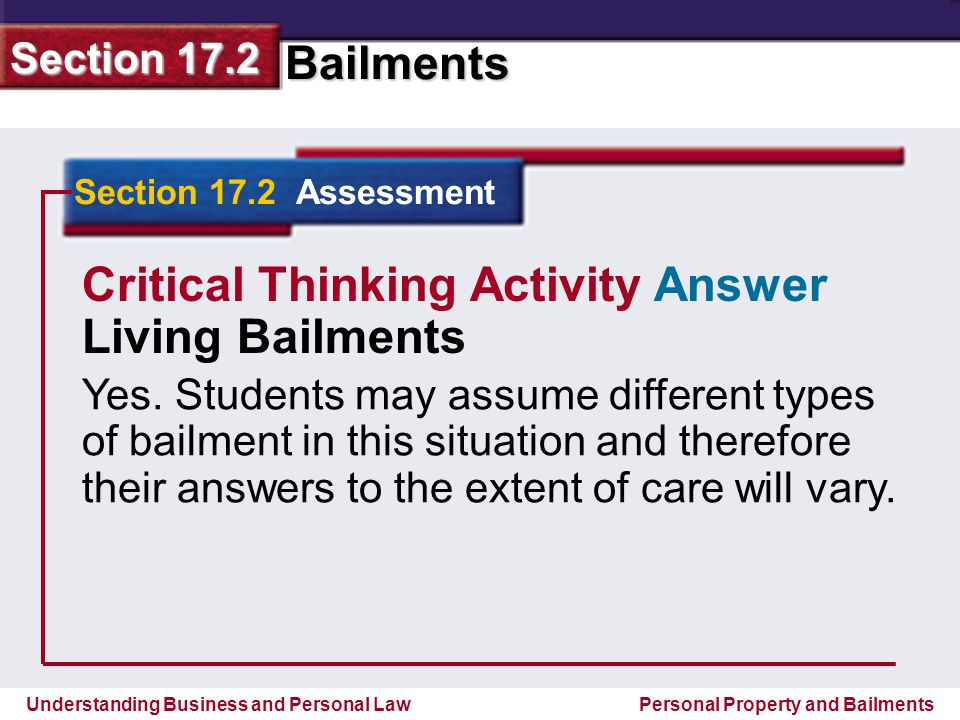 Critical Thinking Activity Answer Living Bailments