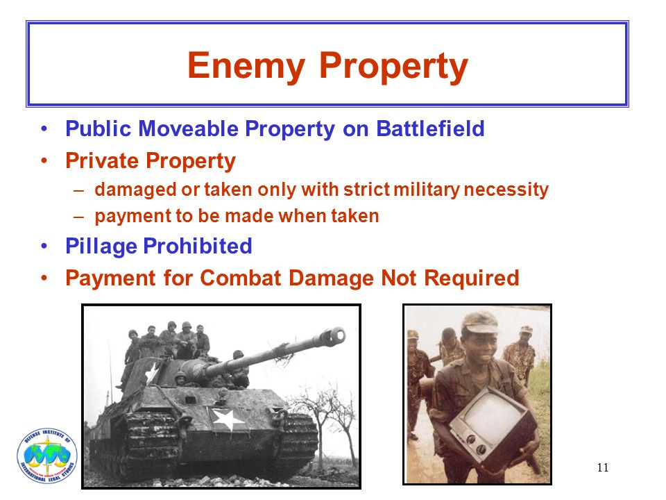 Enemy Property Public Moveable Property on Battlefield