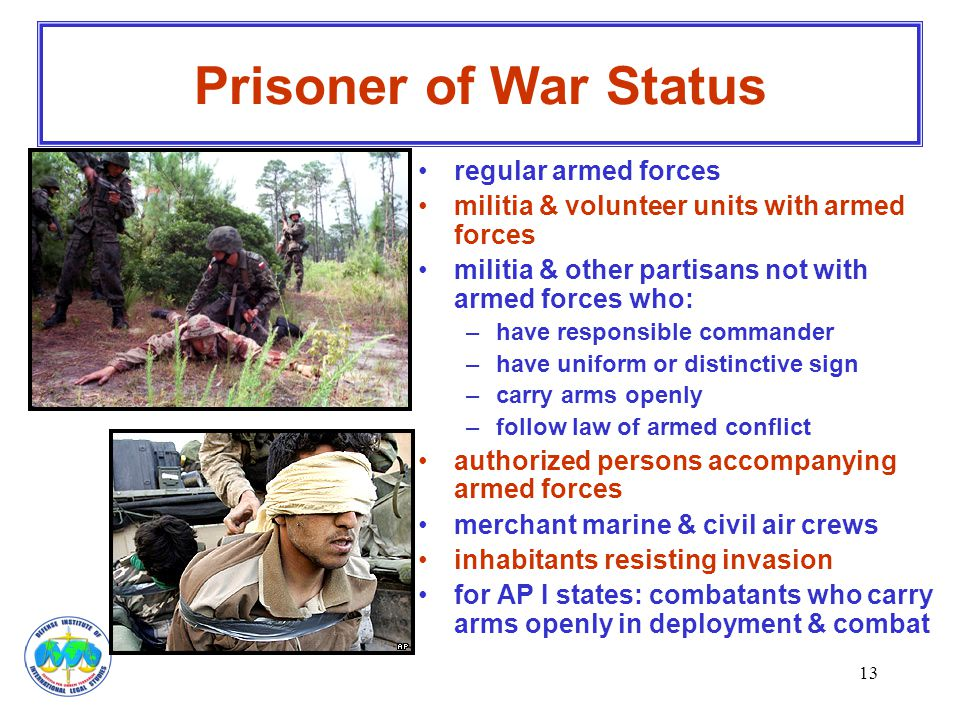 Prisoner of War Status regular armed forces