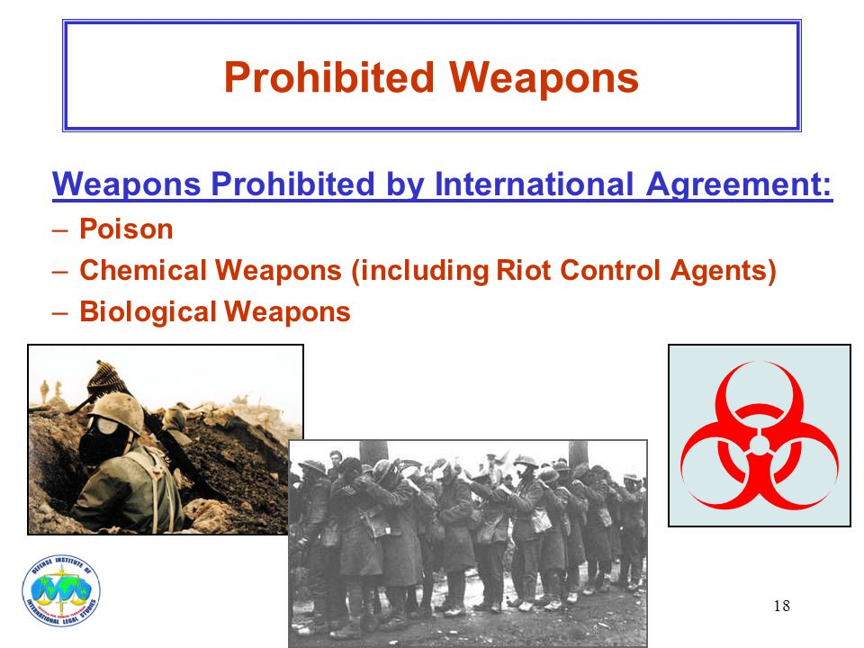 Prohibited Weapons Weapons Prohibited by International Agreement:
