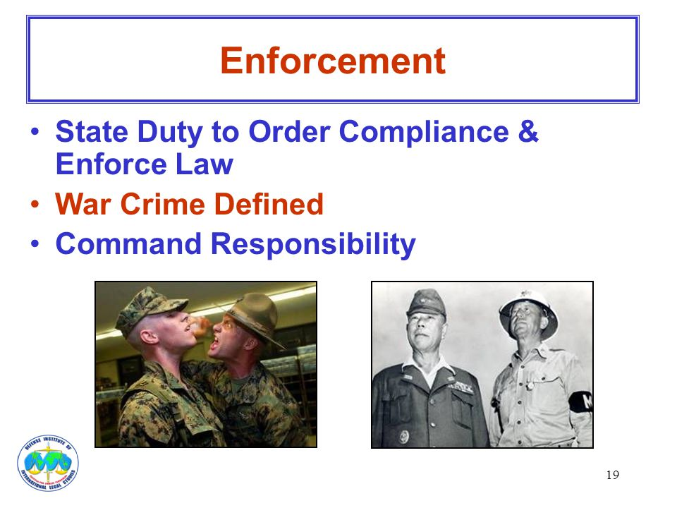 Enforcement State Duty to Order Compliance & Enforce Law