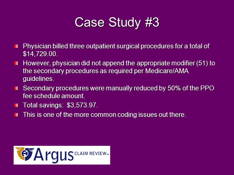 Case Study #3 Physician billed three outpatient surgical procedures for a total of $14,729.00.