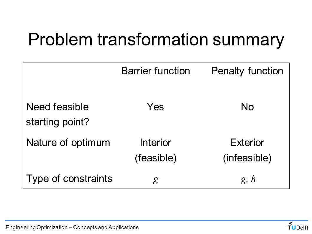 Problem transformation summary