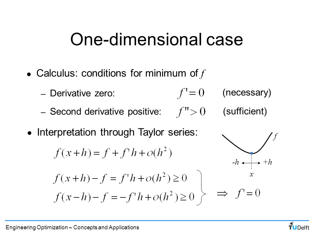 One-dimensional case Calculus: conditions for minimum of f