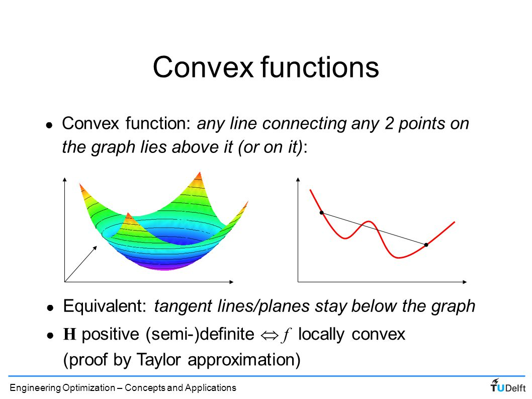 Convex functions Convex function: any line connecting any 2 points on the graph lies above it (or on it):