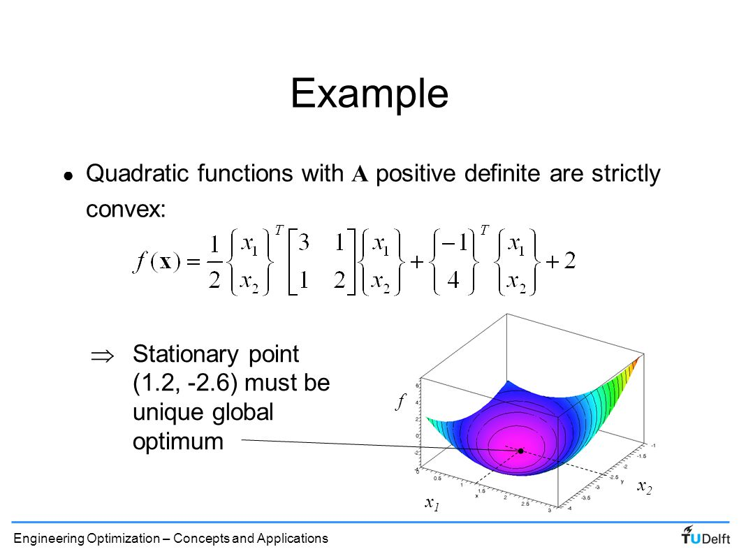 Example Quadratic functions with A positive definite are strictly convex: f.