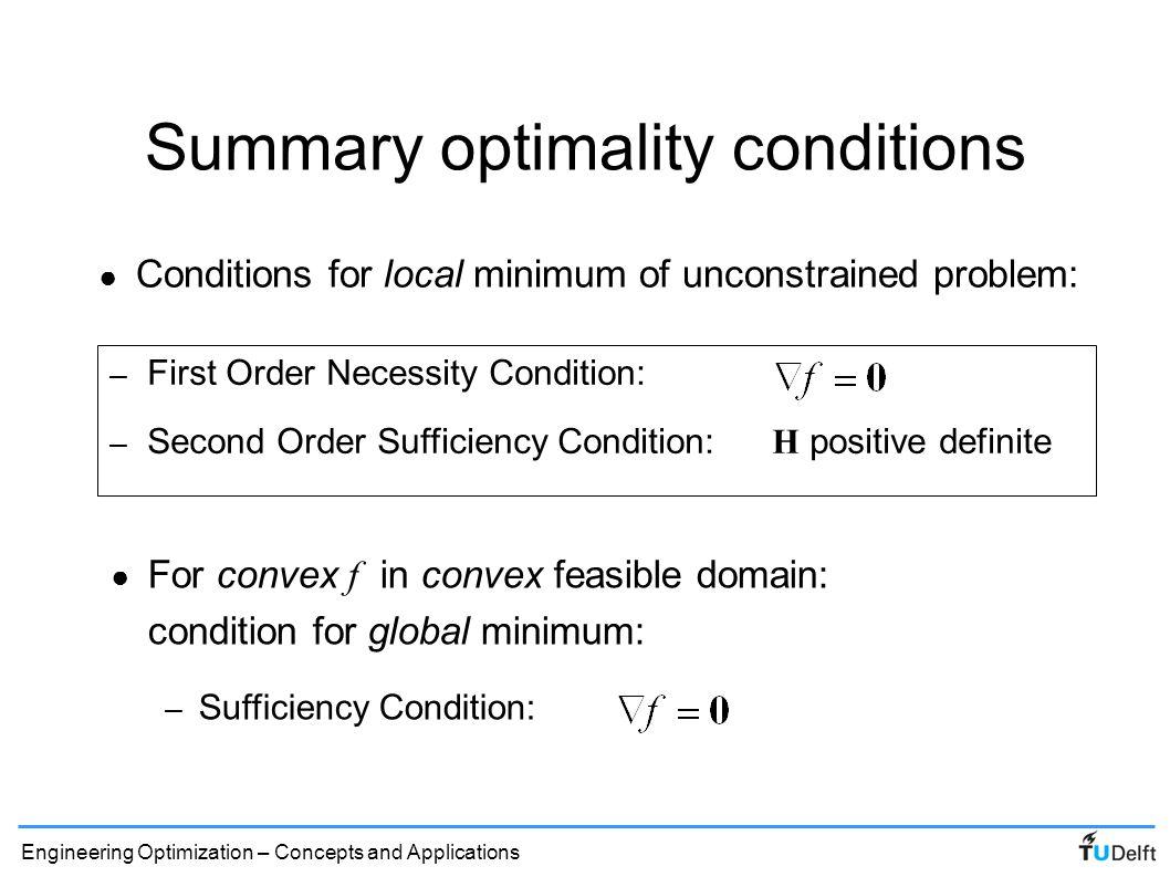 Summary optimality conditions