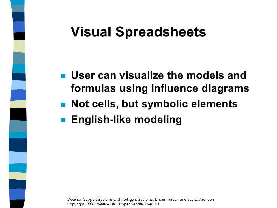 Visual Spreadsheets User can visualize the models and formulas using influence diagrams. Not cells, but symbolic elements.