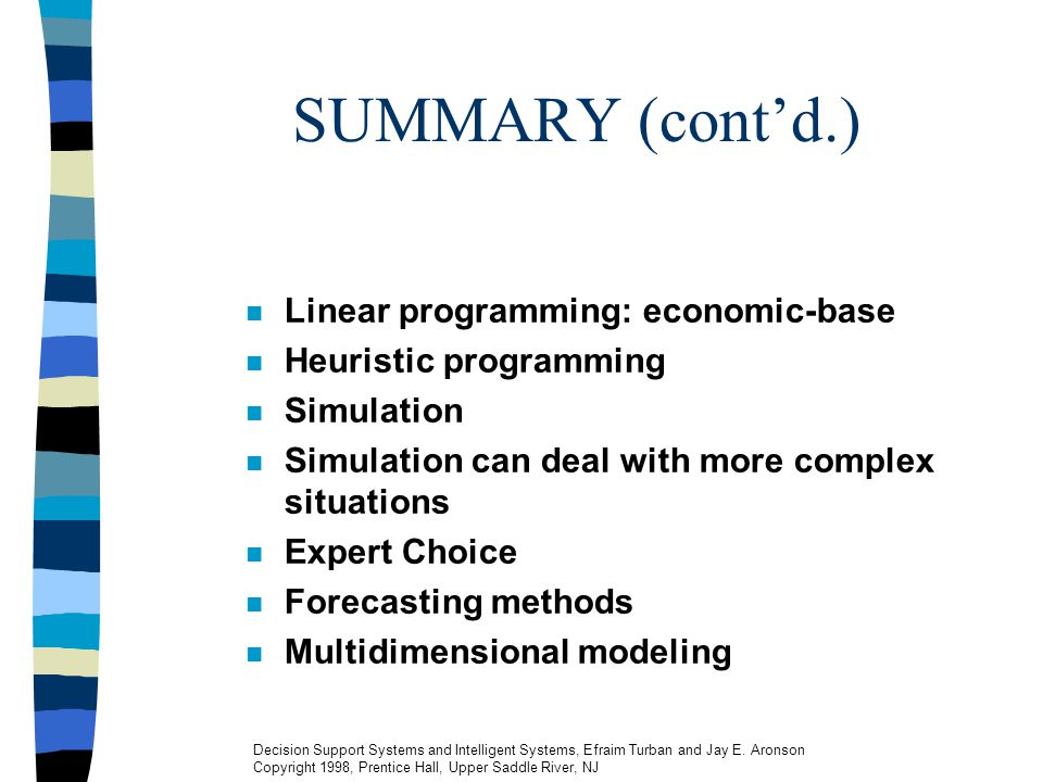 SUMMARY (cont'd.) Linear programming: economic-base