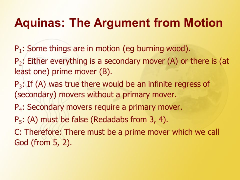 Aquinas: The Argument from Motion