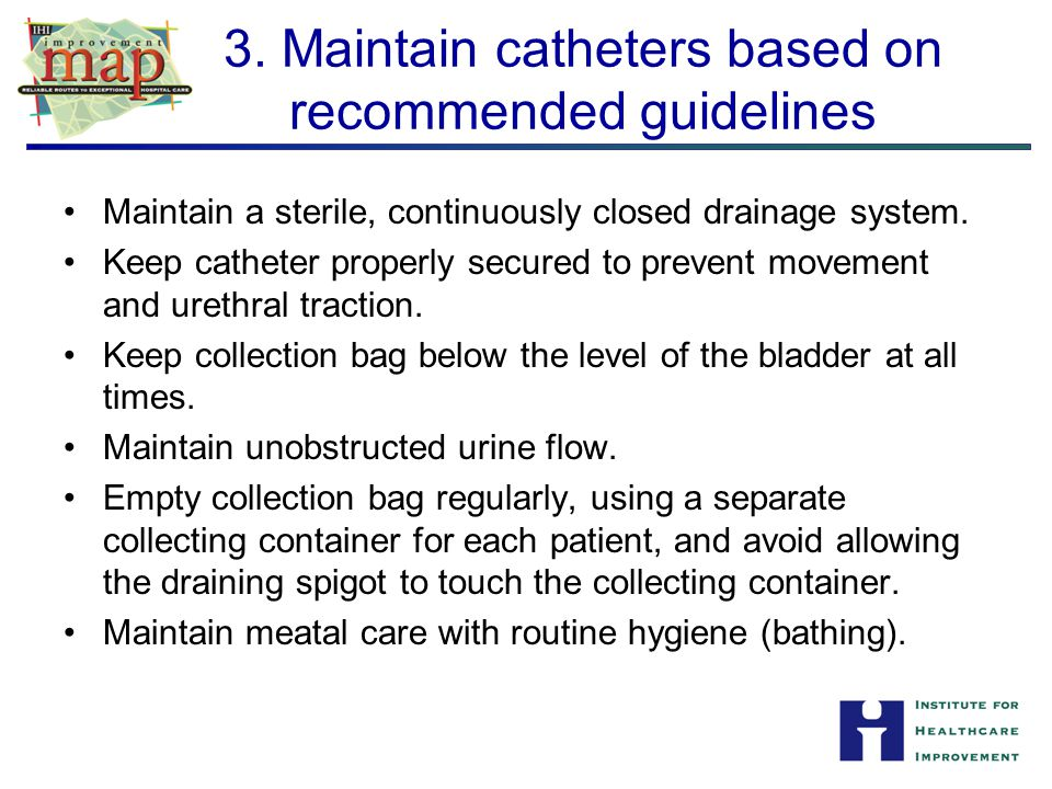 3. Maintain catheters based on recommended guidelines