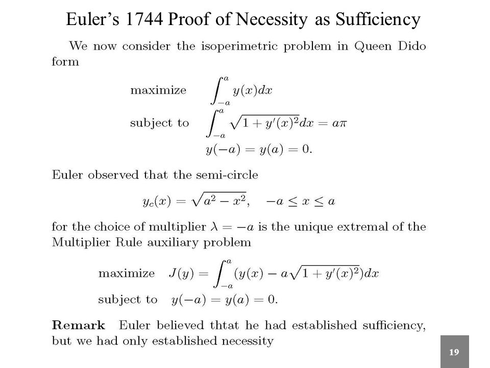 Euler's 1744 Proof of Necessity as Sufficiency