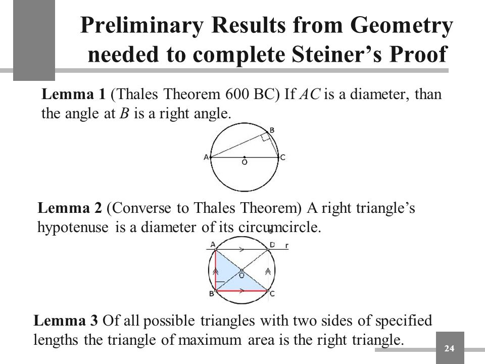 Preliminary Results from Geometry needed to complete Steiner's Proof