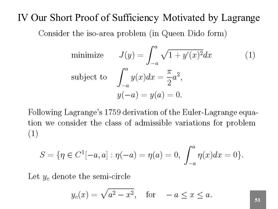 IV Our Short Proof of Sufficiency Motivated by Lagrange