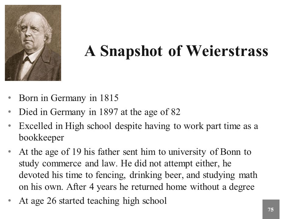 A Snapshot of Weierstrass