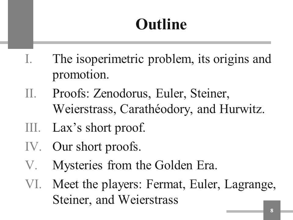 Outline The isoperimetric problem, its origins and promotion.