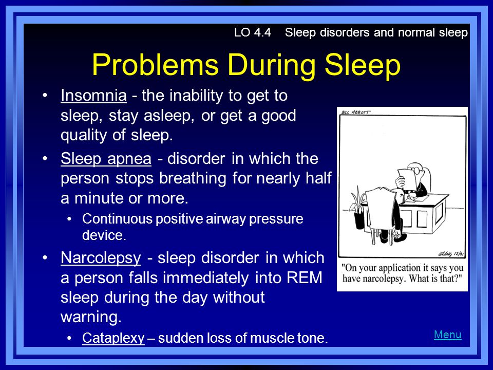 LO 4.4 Sleep disorders and normal sleep