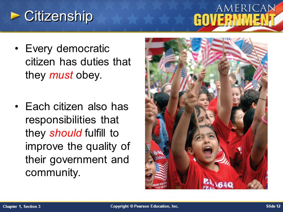 Citizenship Every democratic citizen has duties that they must obey.